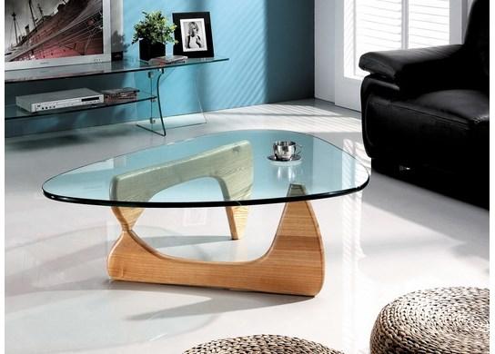 Table basse en verre et bois solide