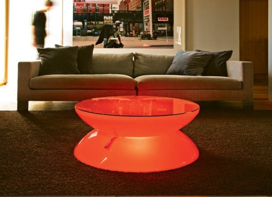 Table basse lumineuse à  LED pour une ambiance lounge