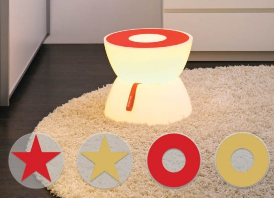 Set r�tro table d'appoint lumineuse