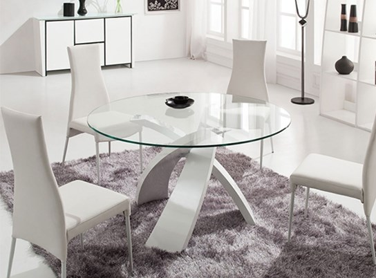 table en verre ronde castle blanc. Black Bedroom Furniture Sets. Home Design Ideas