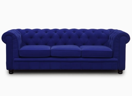 Chesterfield bleu velours 3 places for Canape chesterfield en velours