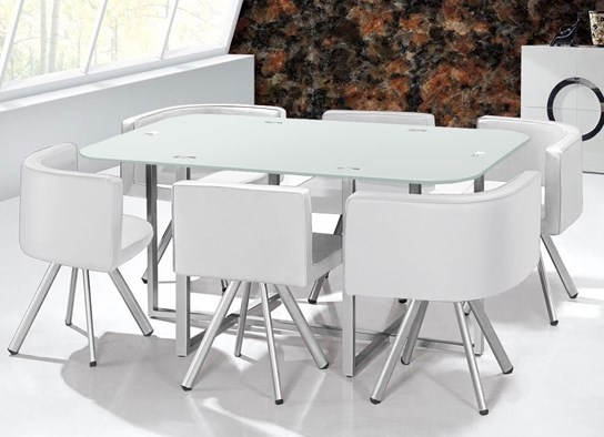 Table damier xl 6 chaises blanc for Table de salle a manger gain de place