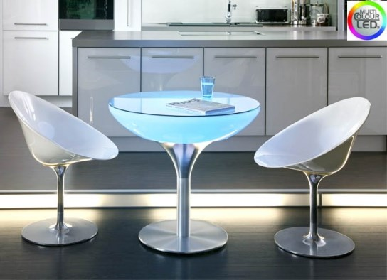 Table haute lounge 75 à LED et batterie rechargeable