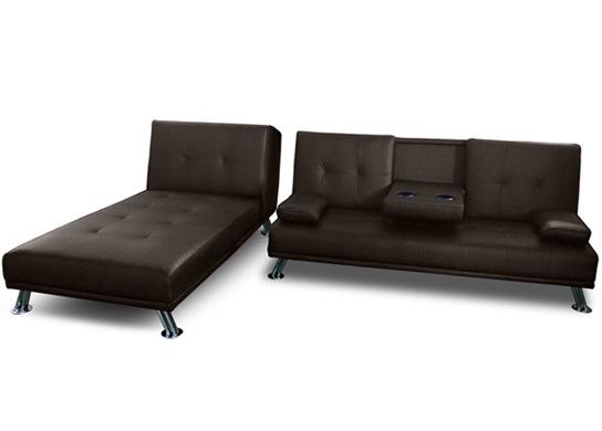 Canapé d'angle convertible avec bar