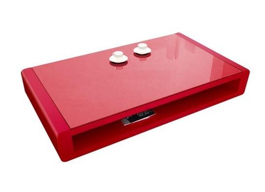 En bois laqué et plateau en verre rouge