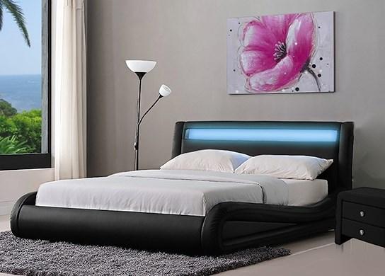 Lit design jenna noir 160 cm - Lit avec led integre ...