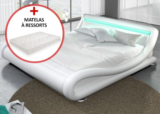 lit led julia 140cm avec matelas valveo blanc. Black Bedroom Furniture Sets. Home Design Ideas