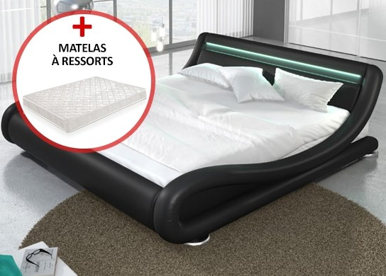 lit led julia 160cm avec matelas valveo noir. Black Bedroom Furniture Sets. Home Design Ideas