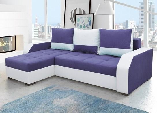 Canap d 39 angle convertible design arizona blanc violet - Canape convertible violet ...