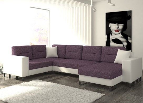 canap d 39 angle convertible design dora bicolore blanc violet. Black Bedroom Furniture Sets. Home Design Ideas