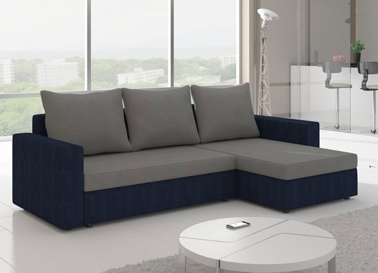 canap d 39 angle convertible design livia bleu gris. Black Bedroom Furniture Sets. Home Design Ideas