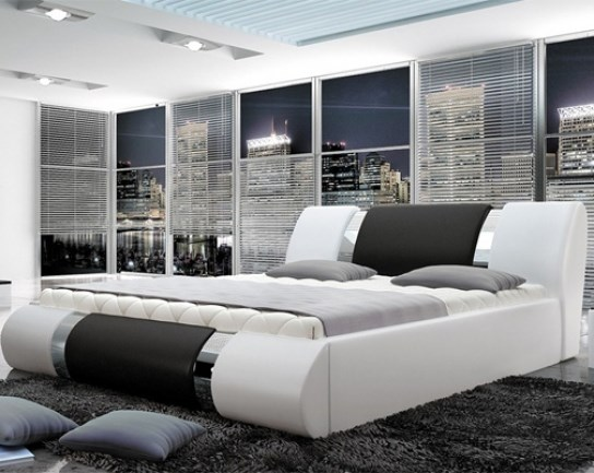 lit design atlanta blanc et noir 160 cm. Black Bedroom Furniture Sets. Home Design Ideas