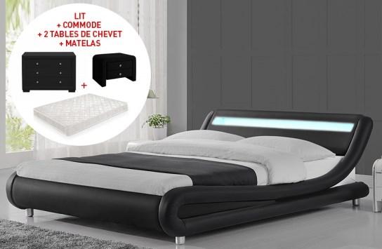 lit led julio 140cm avec matelas 2 tables de chevet et commode eva noir. Black Bedroom Furniture Sets. Home Design Ideas