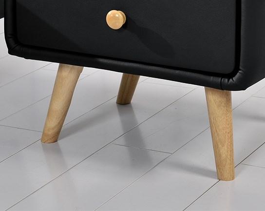 Chevet Scandinave Design En Simili Cuir Noir