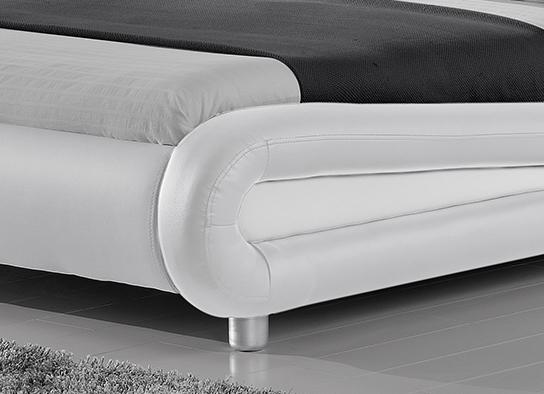 Lit Led Design Julio Blanc 140cm Avec Matelas Yella 140x190 Cm