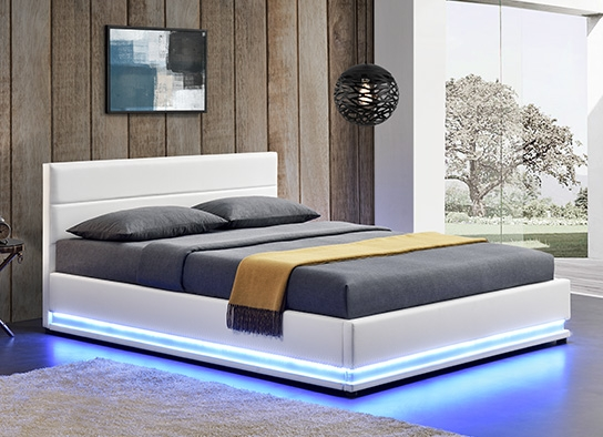 lit led avec coffre de rangement ava blanc 160 cm. Black Bedroom Furniture Sets. Home Design Ideas