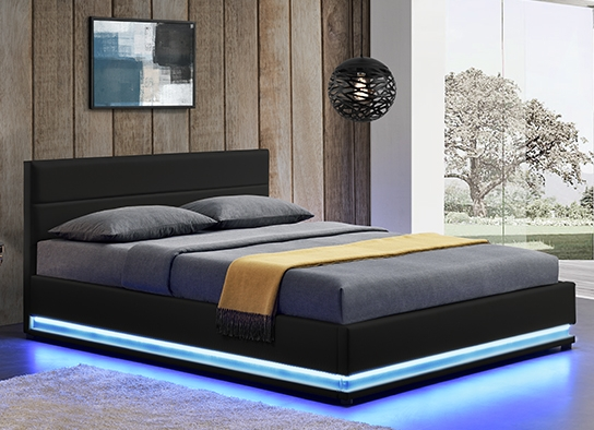 lit led avec coffre de rangement ava noir 160 cm. Black Bedroom Furniture Sets. Home Design Ideas
