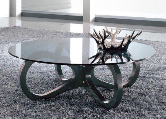 Table basse arcade - Table de salon ronde en verre ...